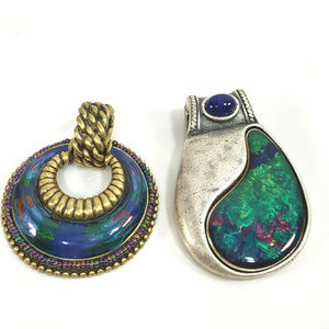 Two Chico's Antique Silver Gold Pendants Dichroic